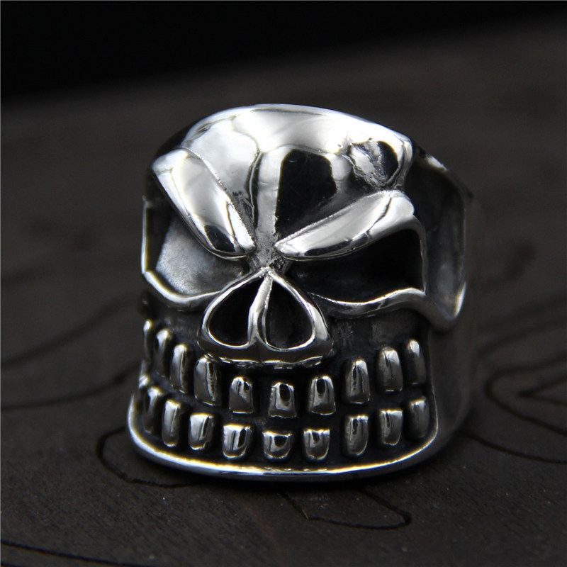 C&R 925 Sterling Silver Rings Vintage mens Thai silver personality skull head handmade opening ring Fine Jewelry Size 8-10