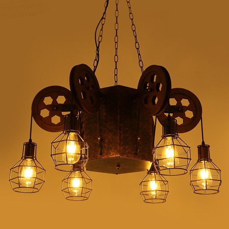 Loft creative 4/6 heads pendant lamps retro industrial wind bar cafe theme restaurant big pendant light ZA8169 цена и фото