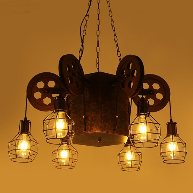 Loft Creative 4 6 Heads Pendant Lamps Retro Industrial Wind Bar Cafe Theme Restaurant Big
