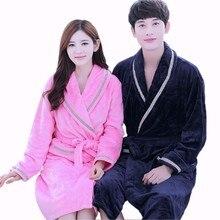 Women Men Soft Warm Coral Fleece Long Bathrobe Winter Kimono Flannel Bath Robe Nightgown Couples Dressing Gown Sleepwear Spa