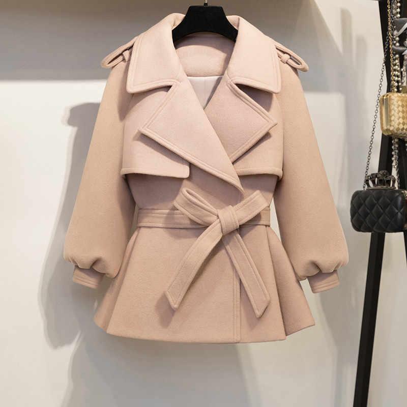 e3470667e31b0 KMETRAM 2018 New Autumn Winter Coat Women Woolen Short Jacket Female  Vintage Slim Jackets Belt Pink