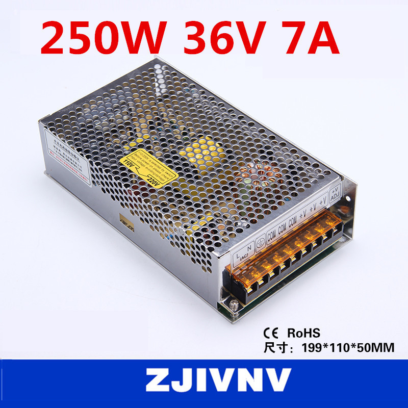 factory price 250W 36V 7A SMPS single output switching power supply for LED Strip light, led power supply CCTV cami, S-250-36 crop velvet cami