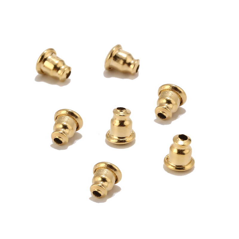 Stainless Steel Bullet Hard Earring Backs Plugging Blocked Rubber Ear Back DIY Earrings Jewelry Making Accessories Gold