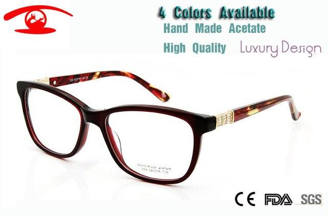 Новый Высокое качество очки кадры женский ясно мода очки ручной работы ацетат компьютерные очки женщины алмаз роскошь очки