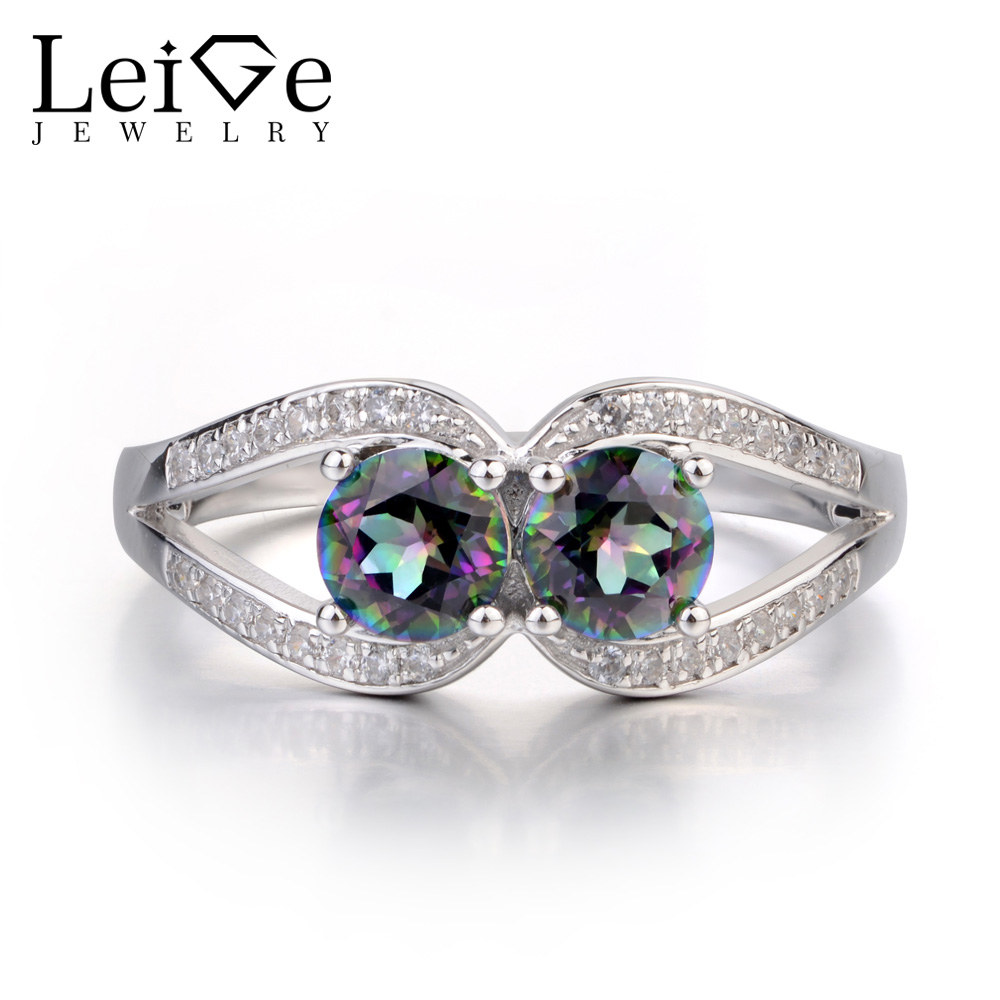 Leige Jewelry Round Cut Mystic Topaz Ring Sterling Silver Double Stone Ring Wedding Engagement Jewelry Rainbow Topaz