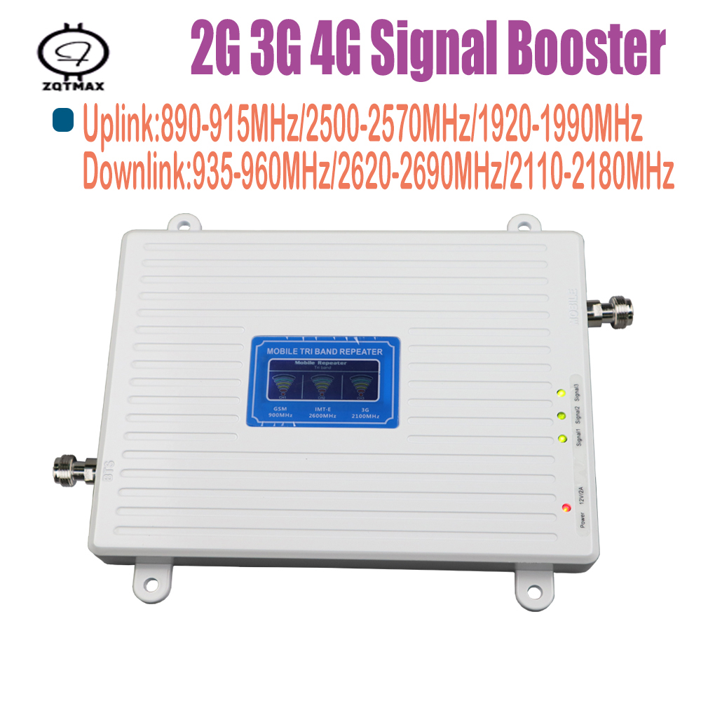 LCD 2g 4g Gsm Repeater 900 2600 2100 MHz Tri Band Cell Phone Signal Booster LTE Cellular Signal Booster Mobile Signal Amplifier