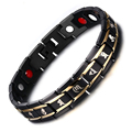 Black Health Magnetic Bracelet For Men Buddhism Language Signet Bracelets Stainless Steel Jewelry Power Element Chain Wristband