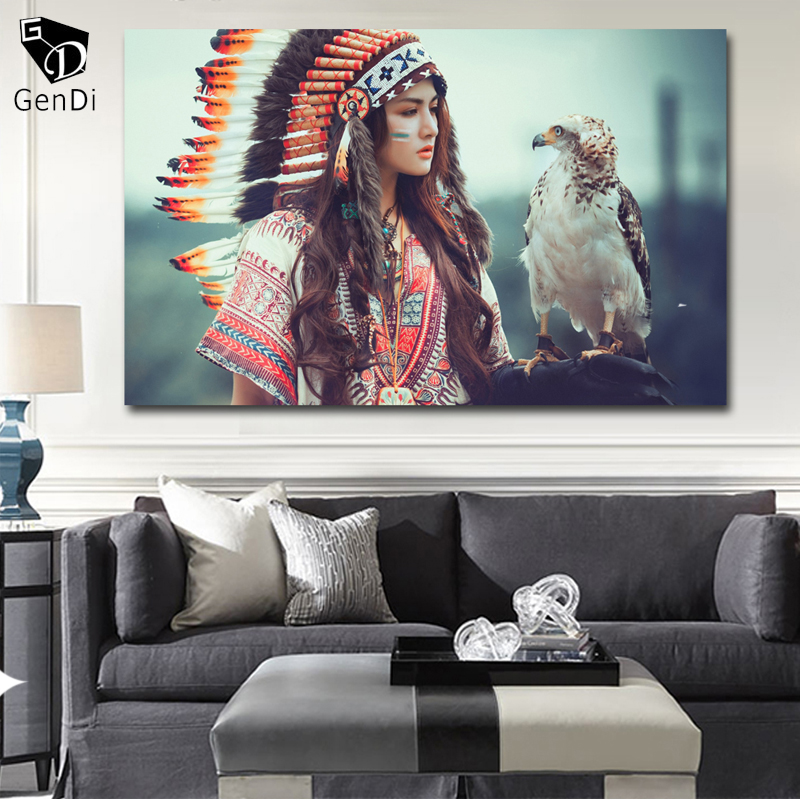 Gendi Native American Girl With Eagle Wall Art Pictures Canvas Oil Rhaliexpress: Native American Paintings For Living Room At Home Improvement Advice