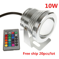 10W RGB LED Pool Light 12V Underwater Lamp 1000LM Waterproof IP68 Aquarium Lamp Fountain Lights With 24 Keys Remote Controller