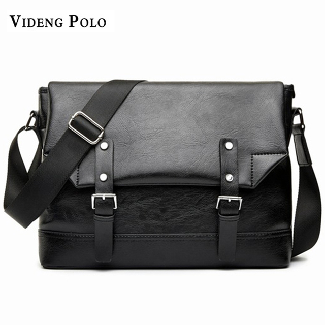 VIDENG POLO 2018 New brand Men s Bags PU Leather Messenger Bag Black  vintage Casual Shoulder Bag Male Business Crossbody Bags a455d4bcaa