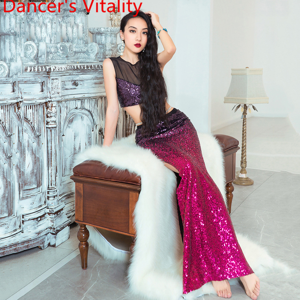 Belly Dance Practice Clothes 2019 Spring Summer New Top Skirt Color Gradient Set Sexy Women Oriental