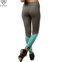B BANG Fashion Women Sport Capris Elastic Patchwork Pants For Running Gym Fitness Dry Quick Workout