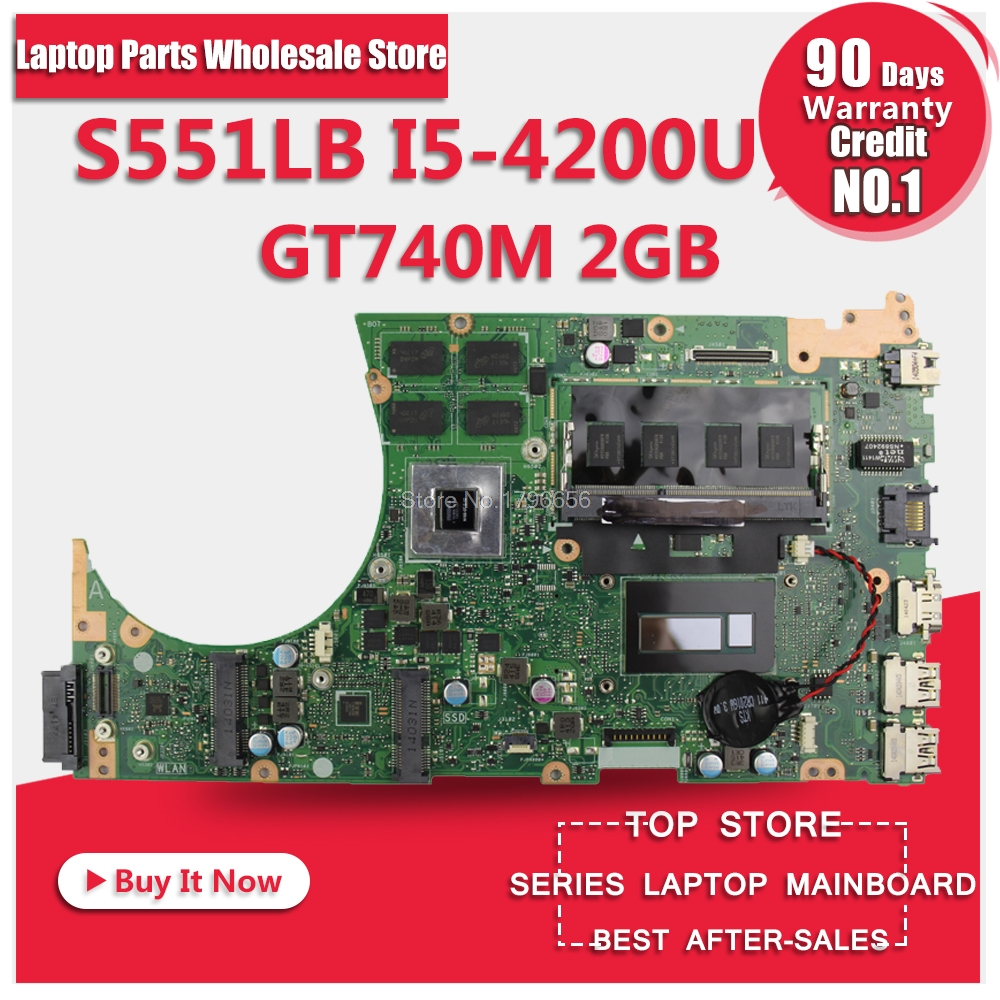 For Asus S551LN Laptop Mainboard With i7-4500U CPU SR16Z GT840M 2GB N15S-GT-S-A2