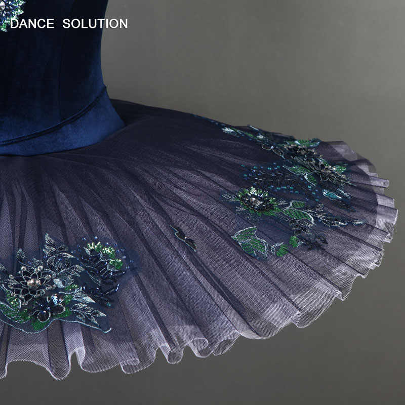 YAGP koyu mavi profesyonel bale dans tutu kostüm kızlar ve kadınlar için solo dans performansı gözleme tutuş kostüm BLL085