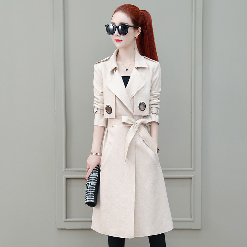 2019 New Spring Autumn   Trench   Coat Women Abrigo Mujer Long Elegant Outwear Female Overcoat Slim Cardigan   Trench   with Belt V740