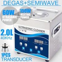 Ultrasonic Cleaner Bath 2L 60W Digital Degas 110V/220V Ultrasound Remove Oil Rust Earrings Hardware Optical Lens Dental Tools