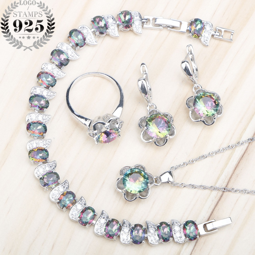 Magic Rainbow Stones 925 Silver Jewelry Sets Women Costume Earrings Necklace Pendant Rings Bracelets Set Jewelery Gift Box