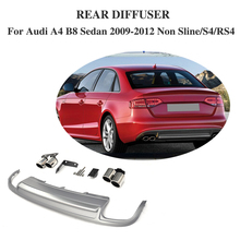PP Car Rear Bumper Extension Diffuser Spoiler With Exhaust Muffler For Audi A4 B8 Sedan 4 Door Non Sline S4 RS4 2009-2012