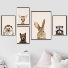 Baby Rabbit Raccoon Bear Deer Fox Hedgehog Wall Art Canvas Painting Nordic Posters And Prints Pictures For Kids Room Decor