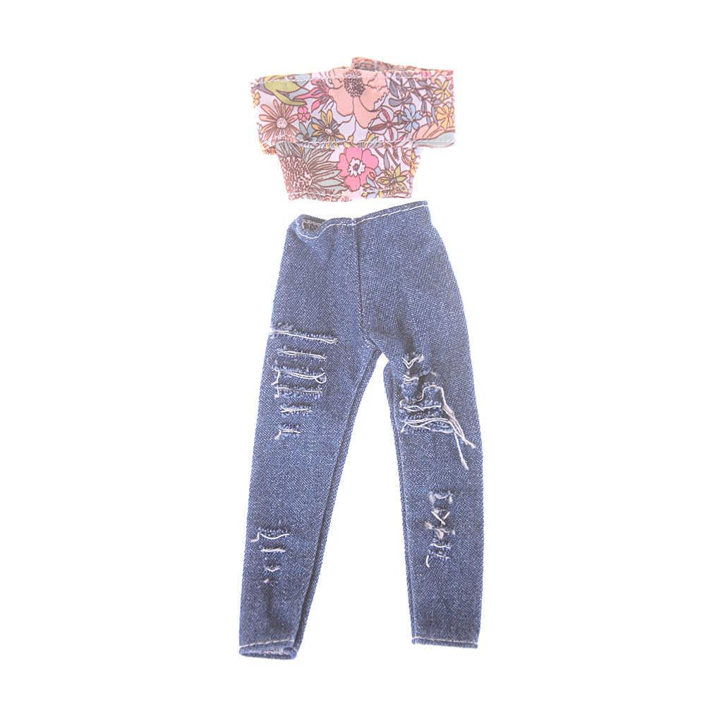 1pcs בעבודת יד עבור בובת בגדי אופנה חולצה חור ג 'ינס רחוב סגנון צעצועי אביזרי חג המולד מתנה