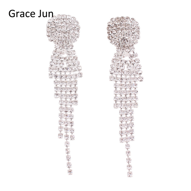 Logical Grace Jun New Arrival Rhinestone Tassel Geometric Shape Clip On Earrings No Pierced Charm Chandelier Jewelry No Hole Ear Clip Jewelry & Accessories Earrings