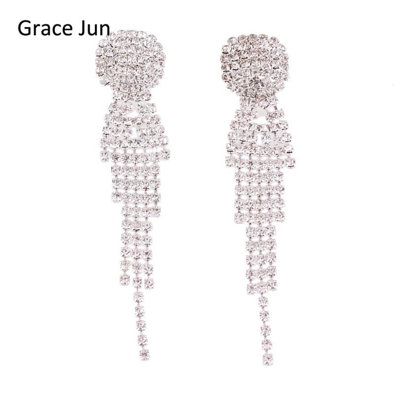 Jewelry & Accessories Logical Grace Jun New Arrival Rhinestone Tassel Geometric Shape Clip On Earrings No Pierced Charm Chandelier Jewelry No Hole Ear Clip