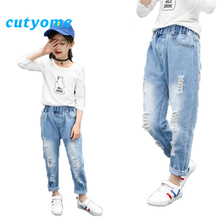 Ripped Jeans for Girls 2019 Summer Light Blue Loose Casual Children Denim Pants Elastic Waist Teenage Girls Jeans Trousers 3-16Y недорого