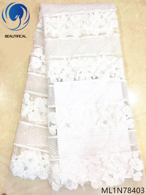Beautifical white net lace fabric glitter sequins lace african lace fabric with sequins and beads for wedding hot sales ML1N784