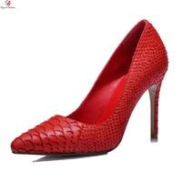 Original Intention Super Sexy Women Pumps Stiletto High Heels Pumps Black Red Genuine Leather Wedding Shoes Woman US Size 3 9