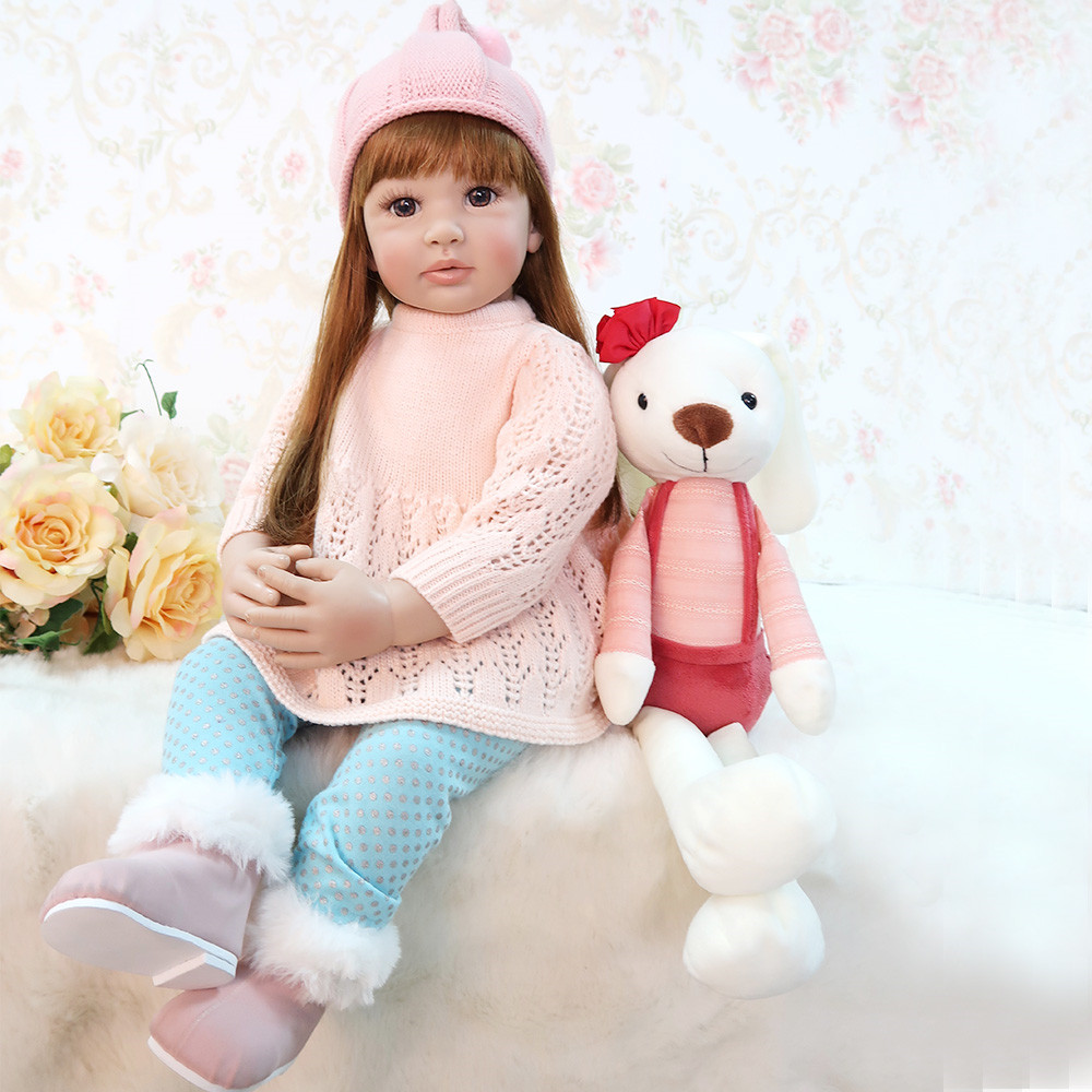 60cm Girls Princess Doll Realistic Soft Silicone Doll Reborn Baby Dolls Lifelike Vinyl Girl Toddler Dolls Toys For Children Gift