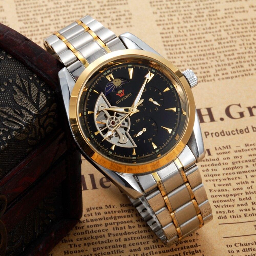Luxe or squelette auto vent mécanique hommes robe automatique montre-bracelet mode étanche Tourbillon mâle montre reloj hombre
