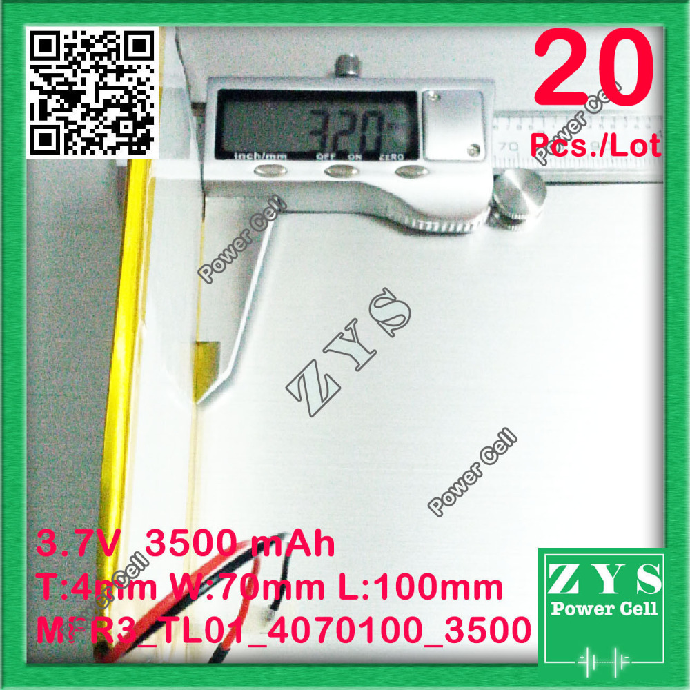 Safety Packing(Level 4) 20pcs.3.7V 3500mah Li-ion battery for tablet pc 7 inch MP3 MP4 3.7 v 3500 mah <font><b>4070100</b></font> Size:4.0x70x100mm image
