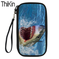 THIKIN Passport Cover PU Leather Passport Holder For Men Women Wallet Case 3D Shark Dolphin Print