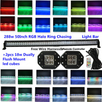 50 288W Off Road Light Bar Combo Beam RGB Halo Ring Chasing Led Light Bar With