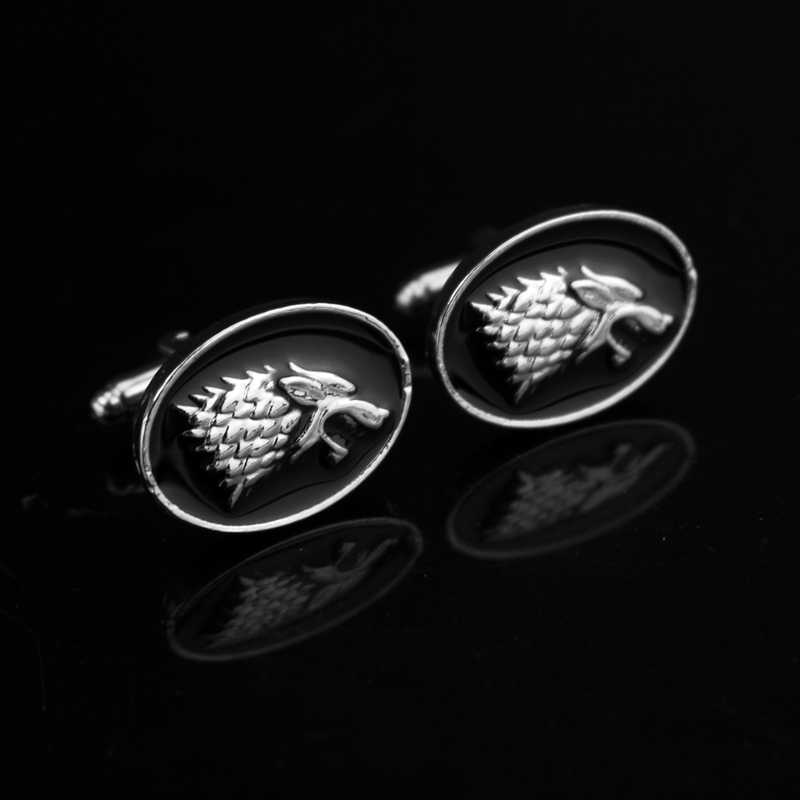 MOCHUN Movie Jewelry Game Of Thrones Wolf Head Cufflink French Men Shirt Cuff Buttons Cuff Links-20