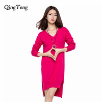 QingTeng Long Sweater Winter Cashmere Female Solid Split Pullover Long Sleeve Knitted Winter Autumn Casual Dress