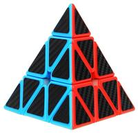 Pyramid Speed Cube Carbon Fiber Sticker Twisty Puzzle Toy Drop Shipping Y829