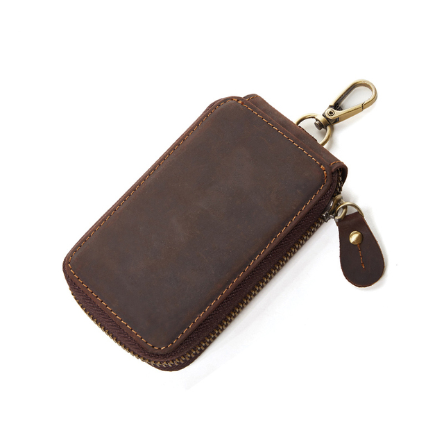 fc1f792b0092 Genuine Leather Men Keychain Cover Zipper Case Bag Housekeeper Key Card  Holder Pouch Crazy Horse Cowhide