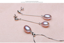 HENGSHENG Black Pearl Set 4color Real Freshwater Pearl Jewelry Set For Women  Pendant Earring With Box 9-10mm Pearl