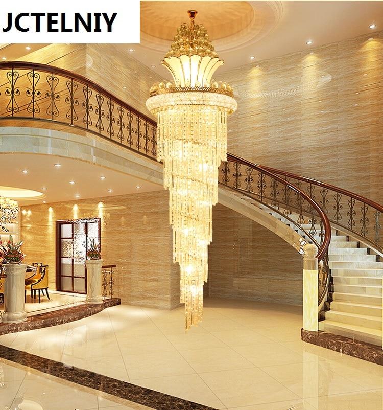 Hybrid Treppen Kristall Lange Lampe S Gold Wohnzimmer Pendelleuchte Led Lobby Grosse