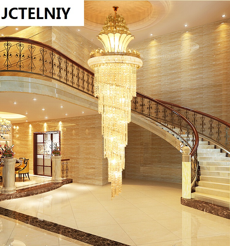 Hybrid type stair crystal long lamp s gold living room pendant light led lobby lamp large pendant light