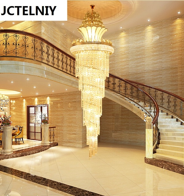 Hybrid Type Stair Crystal Long Lamp S Gold Living Room