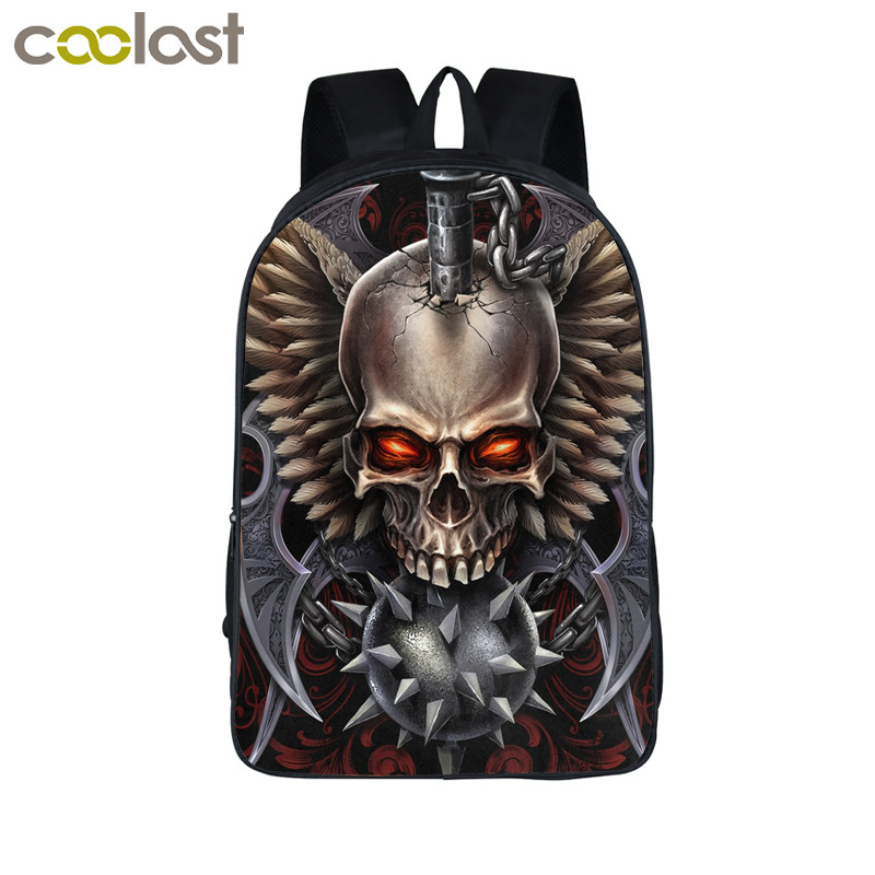 Cool Death Skull Backpack For Teenagers Skull Children School Bags Fire Dragon Travel Bags Laptop Backpack Boys Girls Kids Bag 16 inch anime game of thrones backpack for teenagers boys girls school bags women men travel bag children school backpacks gift