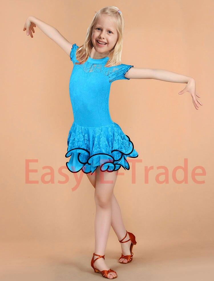 Picture of Child Kid  Children Latin Dance Dress For Girls Samba Stage Dress Dancing Dress Girl Latin Dancewear Performance Lace Costume