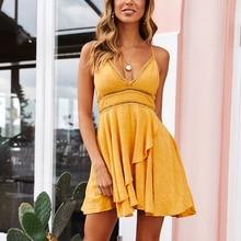 DeRuiLaDy 2019 New Women 100% Cotton Spaghetti Strap Summer Dress Sexy Yellow V Neck Ruffles Mini Dresses Casual Beach