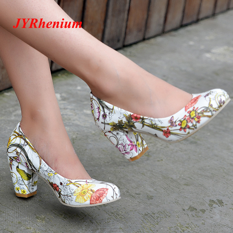 JYRhenium 2018 New Autumn Fashion Retro Thick Heel Printed Flower High Heels Women Pumps Women Shoes Plus Size 34-43 Red Black plus size printed empire waist peplum top