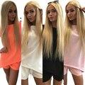 Mulheres Verão Pure Color Casual Voltar V Neck Camisetas Calças Curtas Duas Peças Terno