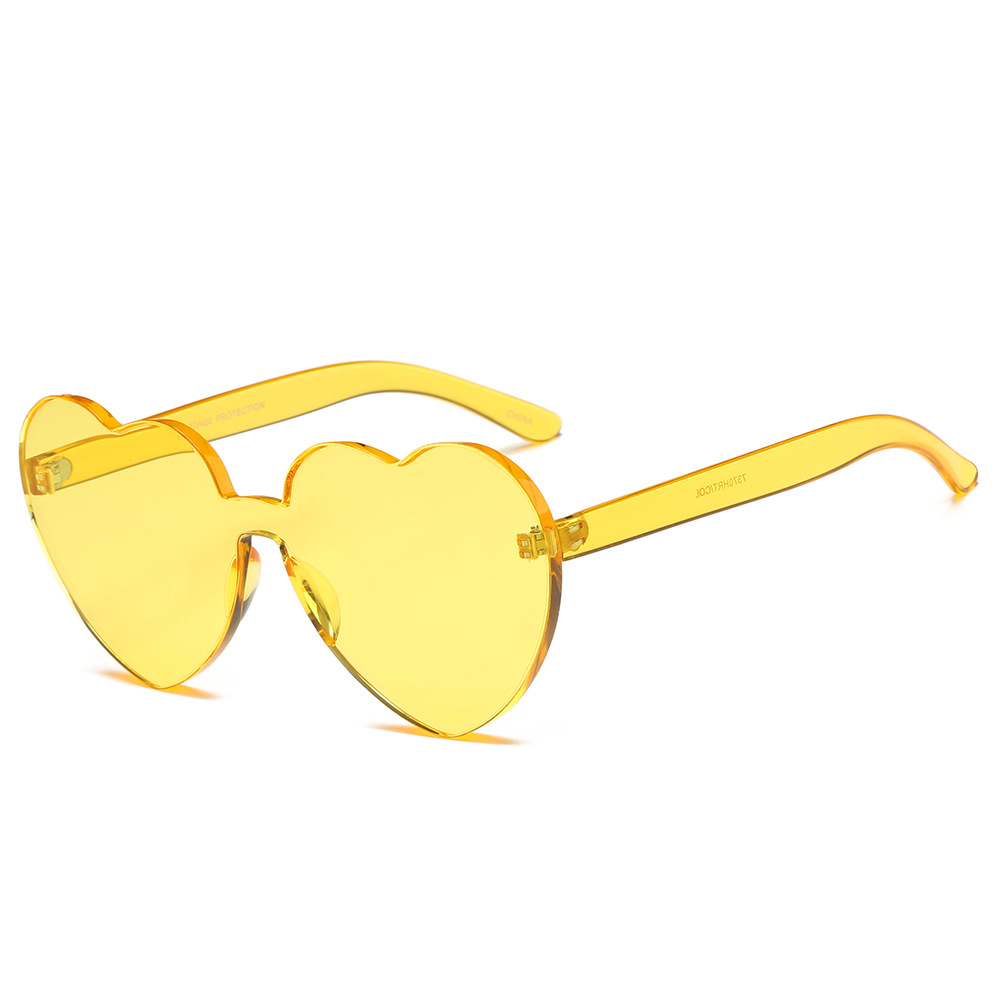 9b29f8a083 2018 Red Heart Sunglasses For Women New Trendy Novelty Rimless Sun Glasses  Candy Color Love Style Fashion Pink Yellow Eyewear-in Sunglasses from  Apparel ...