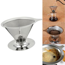 Reusable Metal Mesh Coffee Filter Stainless Steel Holder Funnel Baskets Filters Pour Over Dripper Maker Hand Tools