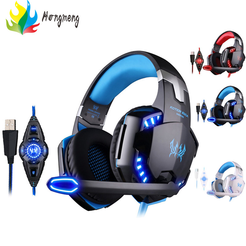 Kotion Each G2200 Professional Gaming Headphone Stereo Headband Game Headsets Pc Gamer Usb7.1 Vibration Breathing Led Light Mic kotion each g2100 gaming headset stereo bass casque best headphone with vibration function mic led light for pc game gamer